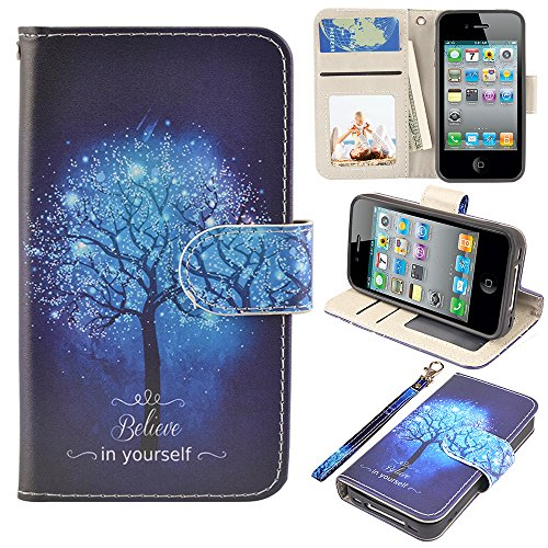 MagicSky iPhone 4s Case, iPhone 4 case, iPhone 4/4S Wallet Case, Premium PU Leather Funny Case Flip Cover with Card Slots & Stand for iPhone 4/4S, Believe in Yourself
