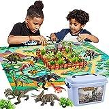 Buyger 58 Pièces Dinosaure Enfant Jouet avec Tapis de Jeu D'activité -...