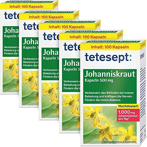 tetesept Johanniskraut Kapseln zur Stabilisierung bei innerer Belastung - verbessern das Befinden und kräftigen die Nerven - 5er Pack (5 x 100 Stück)