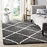 Safavieh Hudson Shag Collection SGH281G Dark Grey and Ivory Moroccan Diamond Trellis Area Rug (8' x 10')