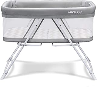 MiClassic All mesh 2in1 Stationary&Rock Bassinet One-Second Fold Travel Crib Portable..