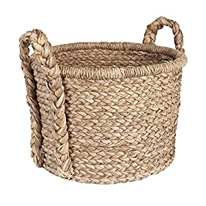 Large Wicker floor basket with Braided handles Handwoven from water hyacinth Tall sides for ample blanket storage Two thick Woven handles to help with carrying 18.5 inches high x 20.01 inches wide x 20.01 inches deep