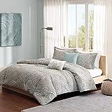 Madison Park Pure Ronan Cotton Comforter Set-Casual Paisley Design All Season Alternative Down Cozy Bedding, Matching Shams, Decorative Pillows, King/Cal King(104'x92'), Blue, 5 Piece