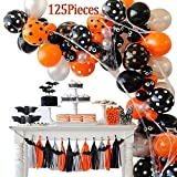125 Pieces Halloween Balloon Arch Garland Kit, Balloon Bouquet Kit, Latex Balloons for Halloween Decorations, Balloon Tie Tools, Balloon Strip Tape, Adhesive Dots for Halloween Party