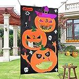 heytech Halloween Toss Games Pumpkin Bean Bag Toss Games + 3 Cute Bean Bags, Halloween Decorations Halloween Games for Kids Party Favor