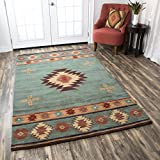 Rizzy Home Collection Wool Area Rug, 5' x 8', Gray Blue/Rust/Burgundy/Tan/Khaki Southwest/Tribal