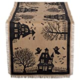 DII 14x74' Jute/Burlap Table Runner, Haunted House - Perfect for Halloween, Dinner Parties and Scary Movie Nights