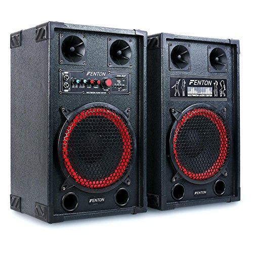 Fenton SPB-10 Set altoparlanti coppia altoparlanti diffusori attivo / passivo karaoke DJ (600 Watt max, Bluetooth, ingressi USB SD MP3, bass reflex)