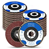 amoolo 4 1/2 Inch Flap Disc, 20Pcs 40 60 80 120 Grit Angle Grinder Sanding Discs, High Density Abrasive Grinding Wheels Type 29 for Metal/Wood Grinding (7/8 inch Arbor Size)