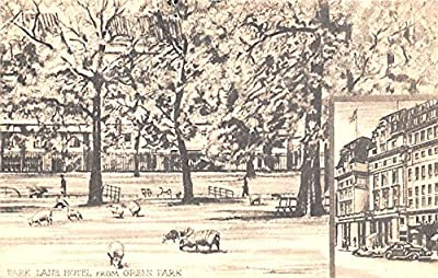 Park Lane Hotel from Green Park United Kingdom, Great Britain, England Postal Used Year: Writing on back Grade: 1 Regular Size - approximately 3 1/2 inch x 5 1/2 inch or 9 CM x 14 CM