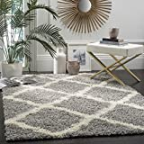 Safavieh Dallas Shag Collection SGD257G Trellis Area Rug, 8' x 10', Grey/Ivory