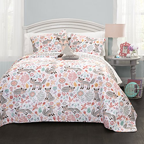 Lush Decor Pixie Fox Quilt Reversible 3 Piece Bedding Set - Gray/Pink - Twin Quilt Set