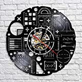 UIOLK Matemáticas Álgebra Disco de Vinilo Reloj de Pared Matemáticas Ciencia Decoración Reloj de Pared 3D Reloj de Pared Decoración del hogar