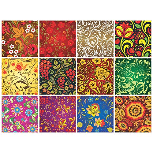 Mexican Talavera Decorative Floral Stickers - (Pack of 24) 6x6 Inch...
