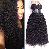 Amella Hair Brazilian Virgin Curly Hair 3 Bundles Weave 300g (18 20 22 inch, Natural Black) 8A 100% Unprocessed Virgin Brazilian Kinky Curly Human Hair Weave