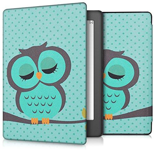 kwmobile Cover Compatibile con Kobo Aura H2O Edition 2 - Custodia a Libro in Pelle PU - Flip Case per eReader - Civetta dormiente Turchese/Marrone/Menta