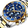 MEGALITH Mens Watches Men Designer Chronograph Blue Gold Waterproof Luminous Stainless Steel Wrist Watch Military Large Date Analogue Watches for Men #2