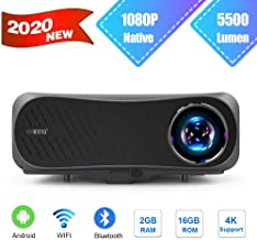 EUG 1080P Video Projector 5500 Lumen Wireless Bluetooth 2G+16GB Large Capacity Support 4K..