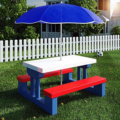 Deuba Kindersitzgruppe mit Sonnenschirm   Picknickset   Tisch und Bänke   Sitzgruppe Kindermöbel Gartenmöbel für Kinder