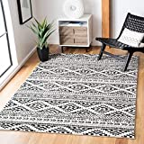 Safavieh Tulum Collection TUL272B Moroccan Boho Tribal Non-Shedding Living Room Bedroom Dining Home Office Area Rug, 5'3' x 7'6', Ivory / Black
