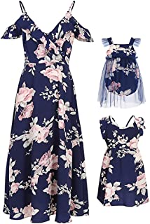 PopReal Mommy and Me Dresses Floral Print Cold Shoulder Ruffle Backless Strap Romper..