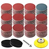 300PCS Sanding Discs Pad Kit, 2 Inch Hook and Loop Sanding Pad with Shank Backer Plate and Soft Foam Buffering Pad, Sandpaper Disc for Drill Grinder Rotary Tools Assorted 60-3000 Grits