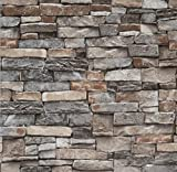"""Peel and Stick Wallpaper 3D Stone Brick Stick on Wallpaper 23.6"""" X 118"""" Thick Cleanable Self-Adhesive Removable Home Decorate Thick Wall Paper Vinyl Shelf Paper Fireplace Christmas Decoration"""