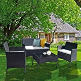 Bigzzia 4 Pieces Patio Furniture Sets PE Wicker Sectional Small Patio Sofa Set Includes Armchairs Loveseat and Table Outdoor Conversation Set with Cushions for Lawn Backyard Poolside(Black)