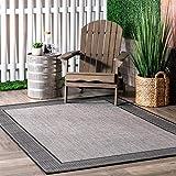 nuLOOM Gris Border Indoor/Outdoor Area Rug, 5' 3' x 7' 6', Grey