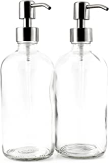 Cornucopia Brands 16-Ounce Clear Glass Boston Round Bottles w/Stainless Steel Pumps (2..