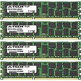 32GB KIT 4X 8GB for Dell PowerEdge Series C6145 M710 R310 Xeon L3426 R410 R610 R710 T310 T610 DIMM DDR3 ECC Registered PC3-8500 1066MHz Quad Rank RAM Memory Genuine A-Tech Brand