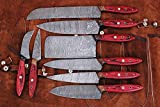 W Trading-Custom Hand made damascus steel blade Professional kitchen knives 8 PCS chef kitchen knife set with leather pouch for storage. WT-1046-8