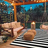Seavish Indoor Outdoor Patio Rugs, 59' x 82.7' Black and White Ivory Striped Rug Handmade Woven Farmhouse Rug, Machine Washable Stripe Carpet Cotton Rug for Living Room/Entry Way/Laundry