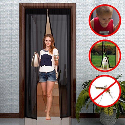 GIMARS Fliegengitter Tür Insektenschutz 110x220 cm / 100x220 cm / 90x210 cm Magnet Vorhang Fliegenvorhang Moskitonetz für Balkontür Wohnzimmer Terrassentür, Klebmontage ohne Bohren