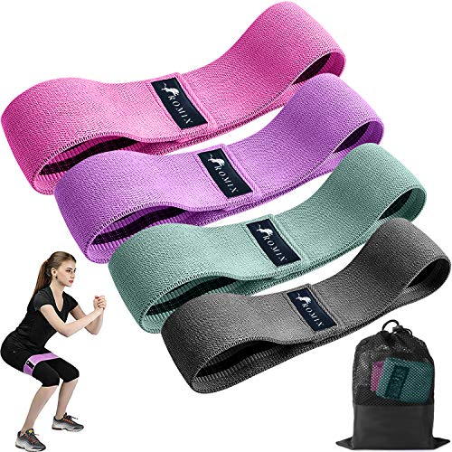 ROMIX Elastici Fitness Bande, 4 Pezzi Tessuto Fasce di Resistenza Set, Alta qualit Loop Resistance...