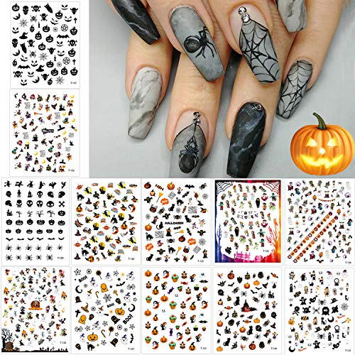 1500+ Patterns Halloween Nail Art Stickers Decals, Kalolary DIY Self-Adhesive Nail Art Tips Stencil Halloween Nail Decorations Gift Include Pumpkin/Bat/Ghost/Witch/Spider Net