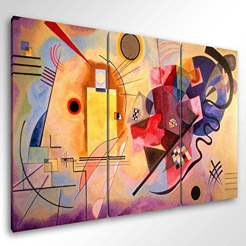 Degona Quadro Moderno Kandinsky Yellow Red Blue - cm 150x100 Stampa su Tela Canvas Arredamento Arte...