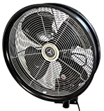 HydroMist F10-14-011 18' Shrouded Outdoor Wall Mount Oscillating Fan, 3 Speed On Cord, 0.15 HP, 1.05 Amps, Black