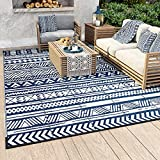 MontVoo Reversible Boho Outdoor Rugs 4' x 6' Easy Cleaning Waterproof Outdoor Patio Rug Non-Slip Durable Large Area Rug for Patio RV Camping Deck Garden Picnic Navy Blue and White