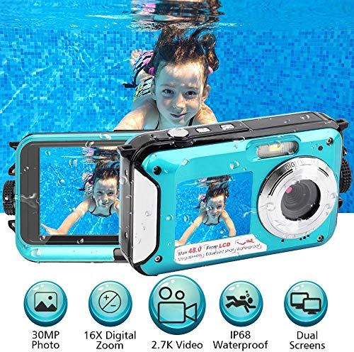 Unterwasserkamera 2.7K Full HD 48.0 MP Kamera Unterwasserkamera Digitalkamera Videorecorder Camcorder Selfie Dual Screen wasserdichte Kamera zum Schnorcheln 10 ft unter Wasser