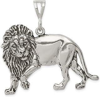 Colgante de plata de ley 925, diseño de león envejecido