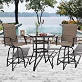 PHIVILLA Outdoor Swivel Bar Stools Set of 3 Bar Height Patio Bistro Set Outdoor Furniture Garden Backyard Stools Set, Swivel 2 Patio Chairs and 1 Top Glass Table, Quick Dry Foam Padded, Sling Fabric