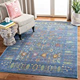 Safavieh Valencia Collection VAL108M Blue and Multi Vintage Distressed Silky Polyester Area Rug (5' x 8')
