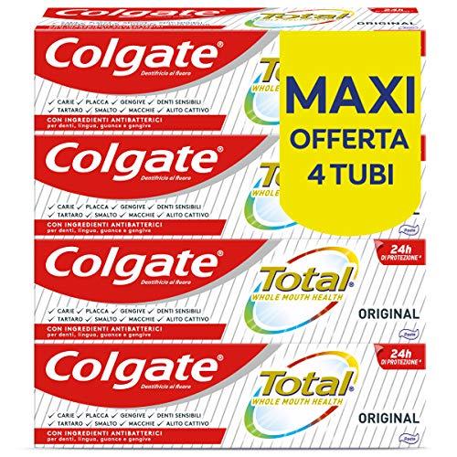 Colgate Dentifricio con Ingredienti Antibatterici Total Original, 24h di Protezione di Denti, Lingua, Guance e Gengive, 4 x 75 ml
