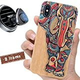iProductsUS Wood Phone Case Compatible with iPhone Xs MAX, Magnetic Mount and Screen Protector, Colorful Elephant Printed in USA, Built-in Metal Plate, Wireless Charging Compatible Cover (6.5 inch)