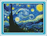Maydear Cross Stitch Kits Stamped Full Range of Embroidery Starter Kits for Beginners DIY 11CT 3 Strands - Starry Night of Van Gogh 2318(inch)