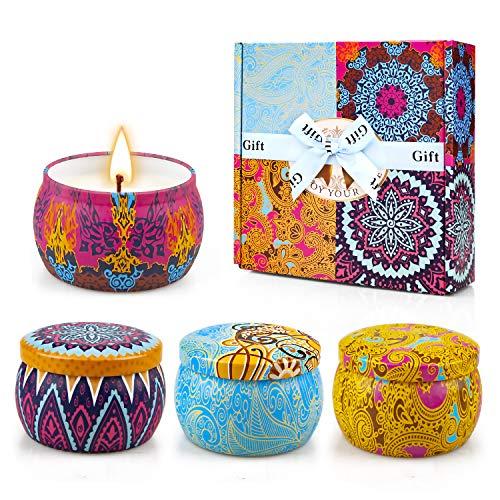 Yinuo Candle Velas Perfumadas Vela Aromática Caja de Regalo 4 Latas, 4.4 oz, 120 Horas de...