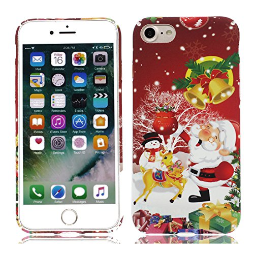 EarthNanLiuPowerTu iPhone 8 Custodia, Cover Copertura per iPhone 8 (4.7') /Rosso Babbo Natale Cartoon Design/Cute Pet Animals Collection