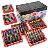 Arteza Acrylic Paint, Set of 60 Colors/Tubes (22 ml/0.74 oz) with Storage Box, Rich Pigments, Non Fading, Non Toxic Metallic Paints for Artist, Hobby Painters & Kids, Art Supplies for Canvas Painting