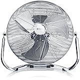 Brandson - Macchina del Vento - Ventilatore da Pavimento - Ventilatore da Tavolo da 38,5cm - 3-Livelli di Potenza - 48W Max - Design Retro - Cromo - Argento